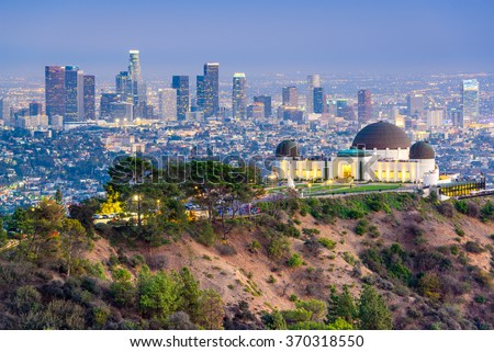 Los Angeles, California, USA downtown skyline from Griffith Park.