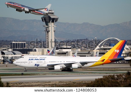 LOS ANGELES, CALIFORNIA, USA - JANUARY 15, 2013 - Air Pacific Fiji Boeing 747-412 takes off at Los Angeles Airport on January 15, 2013. The 400 series is 4% more fuel efficient than other 747's.