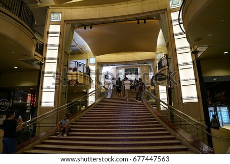 Los Angeles, California, USA - JUNE 25, 2017: Grand Staircase leading up to the Dolby Theatre #677447563