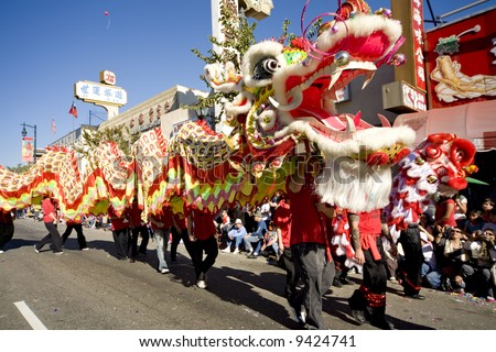 Los Angeles Chinatown, Feb 9th, 2008: Dragon performers in the Chinese New Year parade, celebrating Year of the Rat.