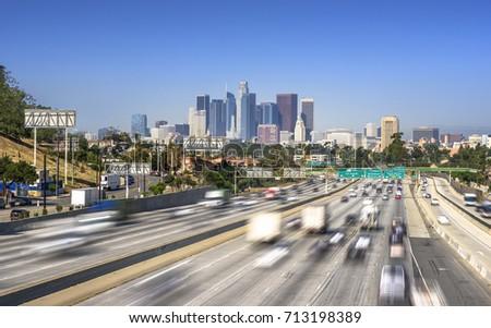 Los Angeles City Freeway Traffic At Sunny Day #713198389