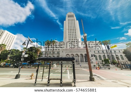 Los Angeles city hall on a cloudy day, California