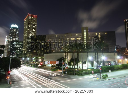 Los Angeles City Intersection at Night