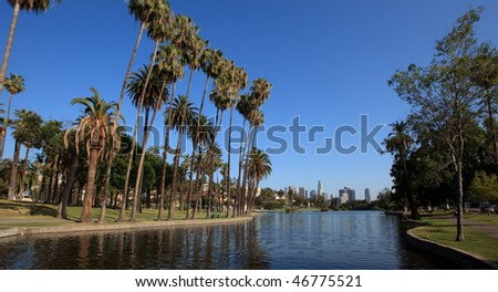 Los Angeles city- park and skyline