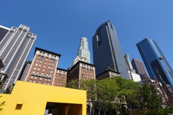 Los Angeles city skyline seen from Pershing Square.