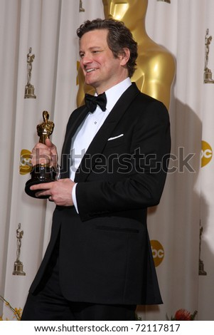 LOS ANGELES -  27:  Colin Firth in the Press Room at the 83rd Academy Awards at Kodak Theater, Hollywood & Highland on February 27, 2011 in Los Angeles, CA