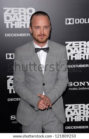 LOS ANGELES - DEC 10:  Aaron Paul arrives to the 'Zero Dark Thirty' premiere at Dolby Theater on December 10, 2012 in Los Angeles, CA