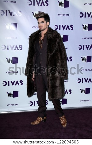 LOS ANGELES - DEC 16:  Adam Lambert arriving at the VH1 Divas Concert 2012 at Shrine Auditorium on December 16, 2012 in Los Angeles, CA - stock photo
