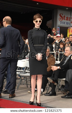 LOS ANGELES - DEC 13:  Anne Hathaway at the Hollywood Walk of Fame ceremony for Hugh Jackman on December 13, 2012 in Los Angeles, CA