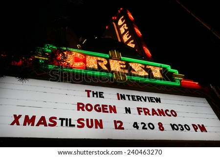 LOS ANGELES - DEC 25: Controversial movie \'The Interview\' opens at the Crest Theater on December 25, 2014 in Westwood, Los Angeles, California