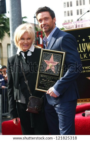 LOS ANGELES - DEC 13:  Deborra-Lee Furness, Hugh Jackman at the Hollywood Walk of Fame ceremony for Hugh Jackman on December 13, 2012 in Los Angeles, CA