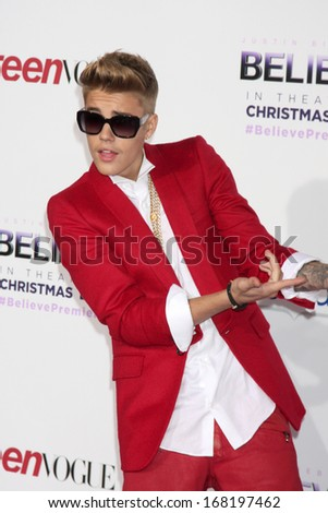 "LOS ANGELES - DEC 18:  Justin Bieber at the ""Believe"" World Premiere at Regal 14 Theaters on Dec 18, 2013 in Los Angeles, CA"