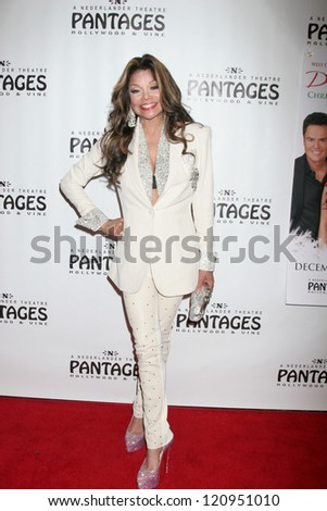 "LOS ANGELES - DEC 4:  LaToya Jackson arrives to ""Donny & Marie - Christmas in Los Angeles"" Opening Night at Pantages Theater on December 4, 2012 in Los Angeles, CA"
