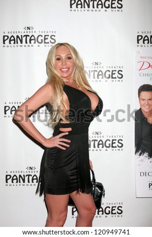 "LOS ANGELES - DEC 4:  Mary Carey arrives to ""Donny & Marie - Christmas in Los Angeles"" Opening Night at Pantages Theater on December 4, 2012 in Los Angeles, CA"