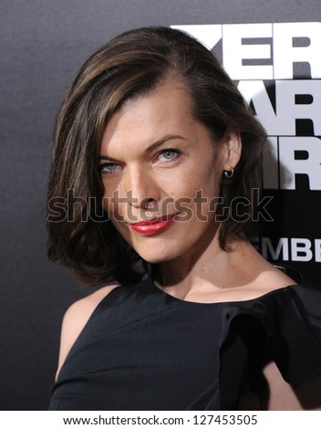 "LOS ANGELES - DEC 09:  Milla Jovovich arrives to the ""Zero Dark Thirty"" LA Premiere  on December 09, 2012 in Hollywood, CA"