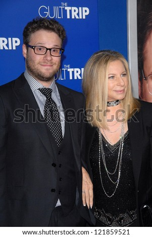 LOS ANGELES - DEC 11:  Seth Rogen, Barbra Streisand arrive to 'The Guilt Trip' premiere at Village Theater on December 11, 2012 in Westwood, CA
