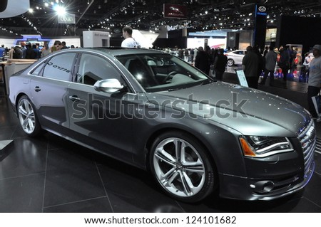 LOS ANGELES - DECEMBER 8: Audi S8 at the 2012 Los Angeles Auto Show as seen on December 8, 2012 in Los Angeles, California.