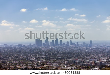 Los Angeles downtown, bird's eye view at sunny day