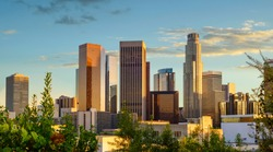 Los Angeles downtown cityscape at sunset