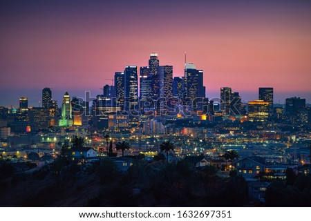 Los Angeles downtown silhouette at sunset. LAX most famous city of california. Typical view of the Los Angeles. Stock photo ©