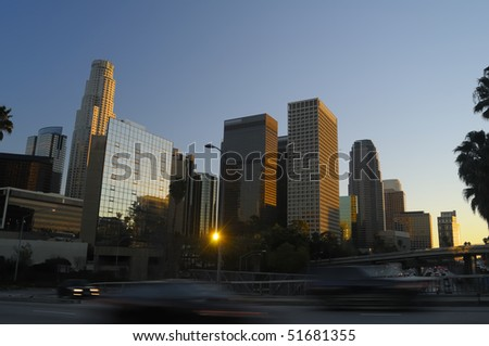 Los Angeles downtown skyline near sunset