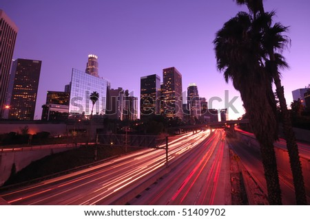 Los Angeles downtown traffic and skyline