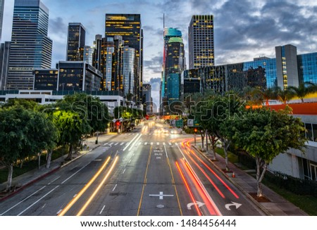 Los Angeles evening traffic in the evening hour #1484456444