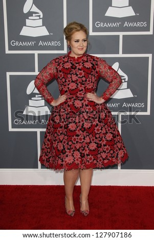 LOS ANGELES - FEB 10:  Adele arrives at the 55th Annual Grammy Awards at the Staples Center on February 10, 2013 in Los Angeles, CA - stock photo