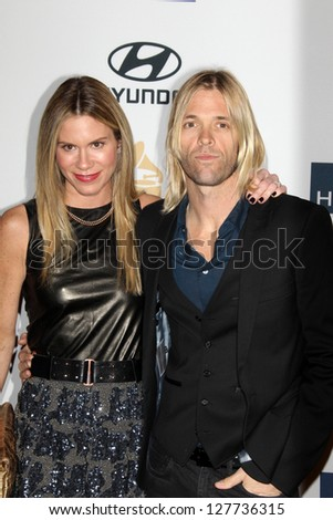 LOS ANGELES - FEB 9:  Alison Hawkins, Taylor Hawkins arrives at the Clive Davis 2013 Pre-GRAMMY Gala at the Beverly Hilton Hotel on February 9, 2013 in Beverly Hills, CA