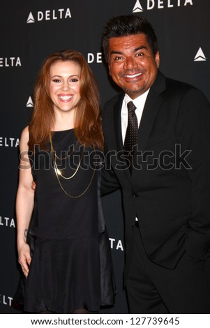 LOS ANGELES - FEB 7:  Alyssa Milano, George Lopez arrives at the Celebration of LA's Music Industry reception at the Getty House on February 7, 2013 in Los Angeles, CA