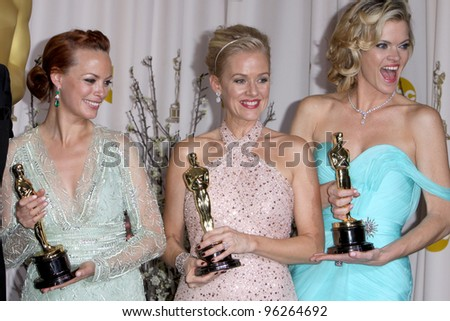 LOS ANGELES - FEB 26:  Berenice Bejo, Penelope Ann Miller, and Missi Pyle arrives at the 84th Academy Awards at the Hollywood & Highland Center on February 26, 2012 in Los Angeles, CA.