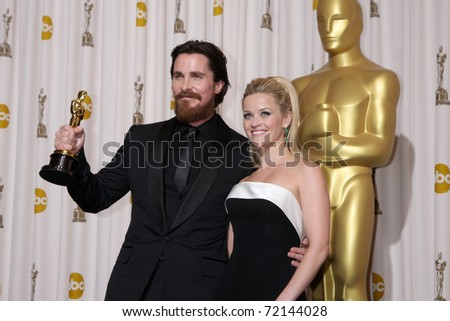 LOS ANGELES -  FEB 27: Christian Bale, Reese Witherspoon arrives in the Press Room at the 83rd Academy Awards at Kodak Theater, Hollywood & Highland on February 27, 2011 in Los Angeles, CA