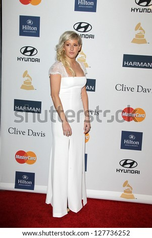 LOS ANGELES - FEB 9:  Ellie Goulding arrives at the Clive Davis 2013 Pre-GRAMMY Gala at the Beverly Hilton Hotel on February 9, 2013 in Beverly Hills, CA - stock photo