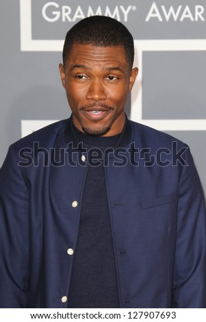 LOS ANGELES - FEB 10:  Frank Ocean arrives at the 55th Annual Grammy Awards at the Staples Center on February 10, 2013 in Los Angeles, CA - stock photo