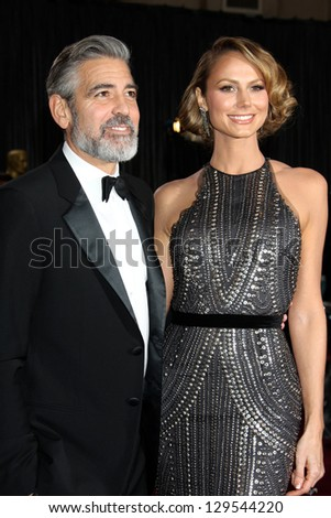 LOS ANGELES - FEB 24:  George Clooney, Stacy Keibler arrive at the 85th Academy Awards presenting the Oscars at the Dolby Theater on February 24, 2013 in Los Angeles, CA