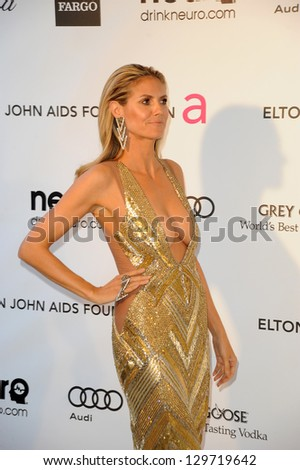 LOS ANGELES - FEB 24:  Heidi Klum arrives at the Elton John Aids Foundation 21st Academy Awards Viewing Party at the West Hollywood Park on February 24, 2013 in West Hollywood, CA - stock photo