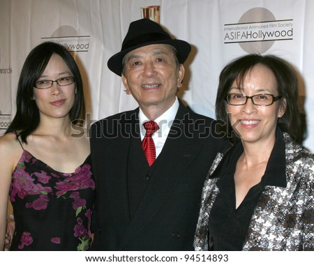 LOS ANGELES - FEB 4:  James Hong, daughter, wife arrives at the 39th Annual Annie Awards at Royce Hall at UCLA on February 4, 2012 in Westwood, CA