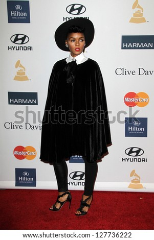 LOS ANGELES - FEB 9:  Janelle Monae arrives at the Clive Davis 2013 Pre-GRAMMY Gala at the Beverly Hilton Hotel on February 9, 2013 in Beverly Hills, CA
