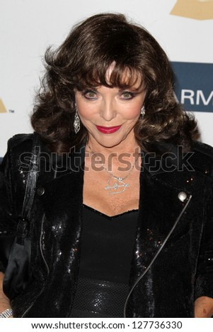 LOS ANGELES - FEB 9:  Joan Collins arrives at the Clive Davis 2013 Pre-GRAMMY Gala at the Beverly Hilton Hotel on February 9, 2013 in Beverly Hills, CA