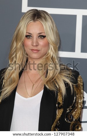 LOS ANGELES - FEB 10:  Kaley Cuoco arrives at the 55th Annual Grammy Awards at the Staples Center on February 10, 2013 in Los Angeles, CA