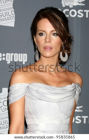LOS ANGELES - FEB 21:  Kate Beckinsale arrives at the 14th Annual Costume Designers Guild Awards at the Beverly Hilton Hotel on February 21, 2012 in Beverly Hills, CA. - stock photo