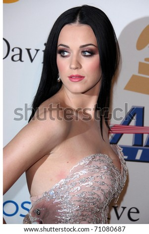 LOS ANGELES - FEB 12:  Katy Perry arrives at the 2011 Pre-GRAMMY Gala And Salute To Industry Icons  at Beverly Hilton Hotel on February 12, 2011 in Beverly Hills, CA