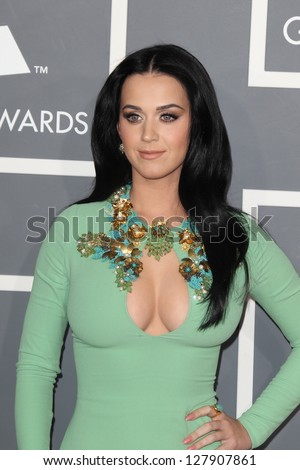 LOS ANGELES - FEB 10:  Katy Perry arrives at the 55th Annual Grammy Awards at the Staples Center on February 10, 2013 in Los Angeles, CA - stock photo