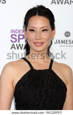 LOS ANGELES - FEB 25:  Lucy Liu arrives at the 2012 Film Independent Spirit Awards at the Beach on February 25, 2012 in Santa Monica, CA