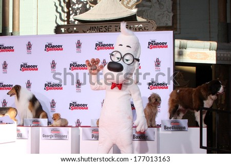 LOS ANGELES - FEB 14:  Mr Peabody, Dog Friends at the Mr. Peabody honored with Pawprints in Cement at TCL Chinese Theater on February 14, 2014 in Los Angeles, CA