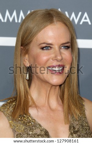LOS ANGELES - FEB 10:  Nicole Kidman arrives at the 55th Annual Grammy Awards at the Staples Center on February 10, 2013 in Los Angeles, CA