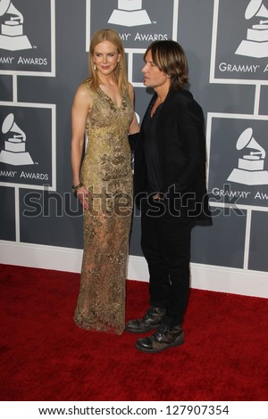 LOS ANGELES - FEB 10:  Nicole Kidman, Keith Urban arrive at the 55th Annual Grammy Awards at the Staples Center on February 10, 2013 in Los Angeles, CA