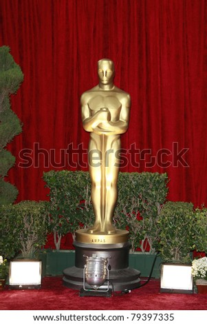 LOS ANGELES - FEB 24: Oscar statue at the arrivals area at the Oscars held at the Kodak Theater in Los Angeles, California on February 24, 2008