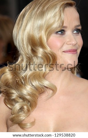 LOS ANGELES - FEB 24:  Reese Witherspoon arrives at the 85th Academy Awards presenting the Oscars at the Dolby Theater on February 24, 2013 in Los Angeles, CA - stock photo