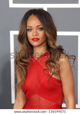 LOS ANGELES FEB 10 Rihanna arrives to the Grammy Awards 2013 on February 10 2013 in Los Angeles CA
